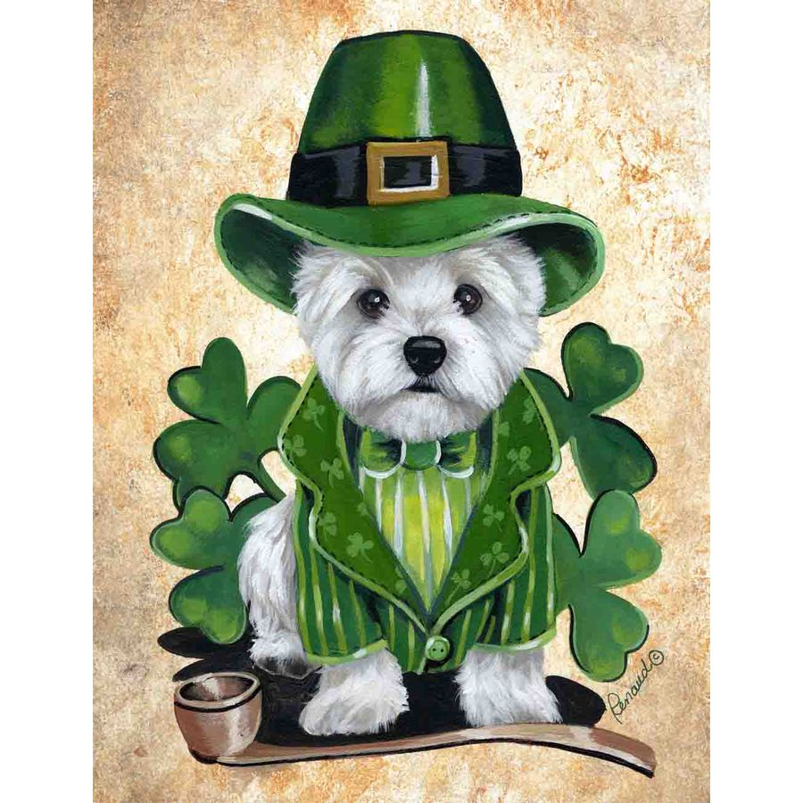 Precious Pet Paintings 1.5-ft x 1.04-ft West Highland Terrier St. Patrick's Day Flag