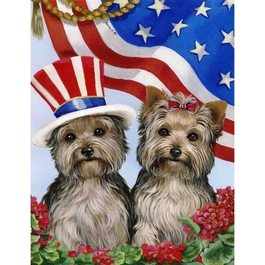 Precious Pet Paintings 1.5-ft x 1.04-ft Yorkshire Terrier 4th of July Flag