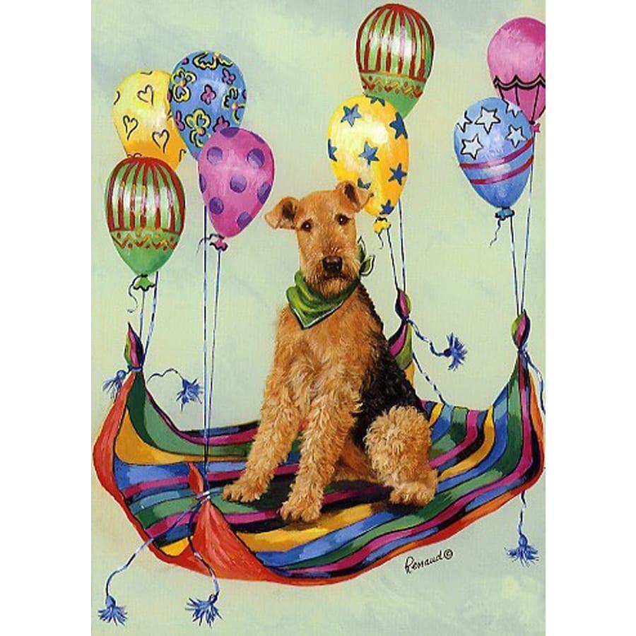 Precious Pet Paintings 3.33-ft x 2.33-ft Airedale Terrier Celebration Flag