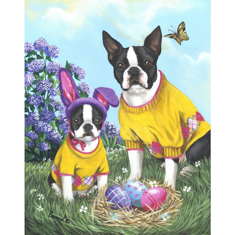 Precious Pet Paintings 3.33-ft x 2.33-ft Boston Terrier Easter Flag