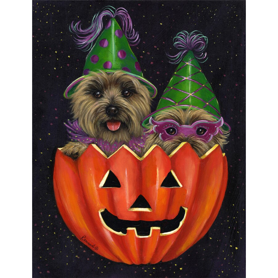 Precious Pet Paintings 3.33-ft x 2.33-ft Cairn Terrier Halloween Flag