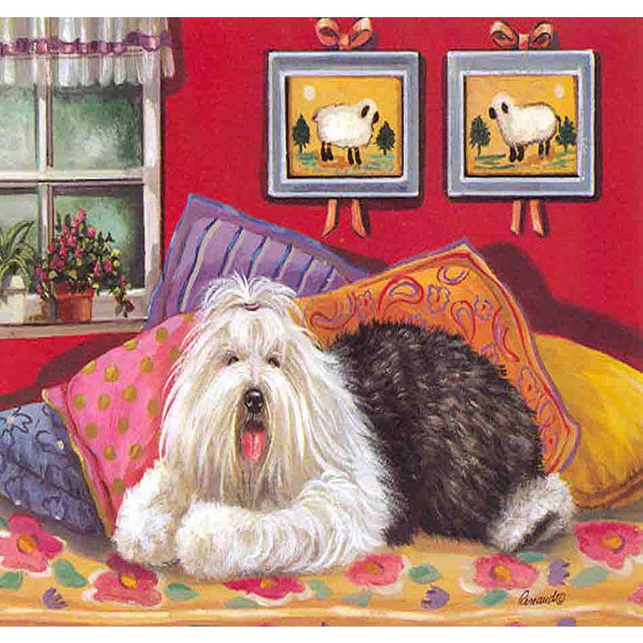 Precious Pet Paintings 3.33-ft x 2.33-ft Old English Sheepdog  Flag