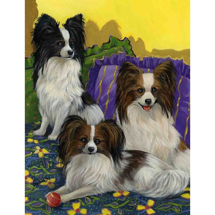 Precious Pet Paintings 3.33-ft x 2.33-ft Papillon Spring Flag