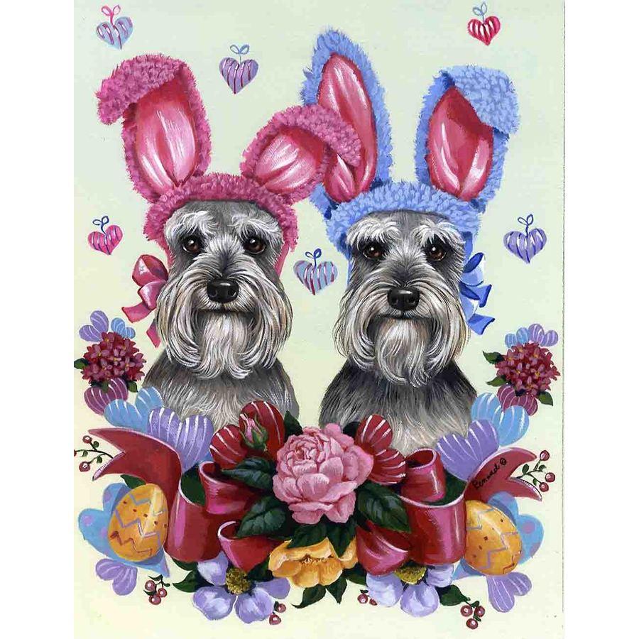 Precious Pet Paintings 3.33-ft x 2.33-ft Schnauzer Easter Flag