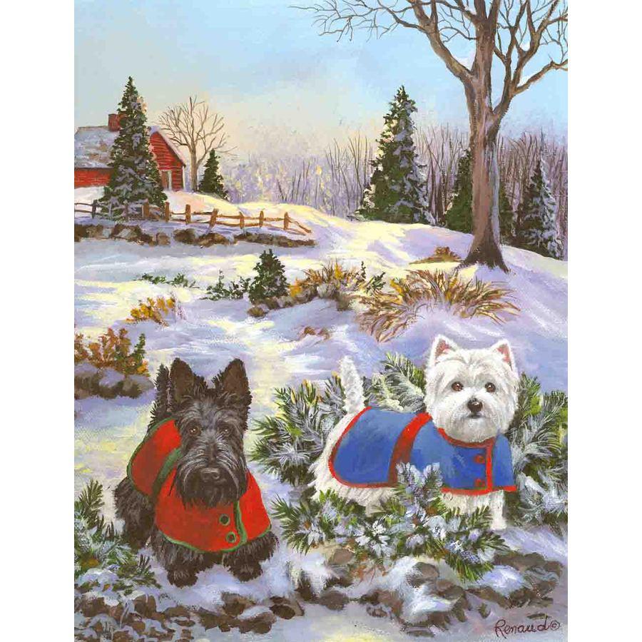 Precious Pet Paintings 3.33-ft x 2.33-ft Multi-Breed Winter Flag