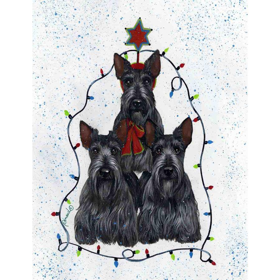 Precious Pet Paintings 3.33-ft x 2.33-ft Scottish Terrier Christmas Flag
