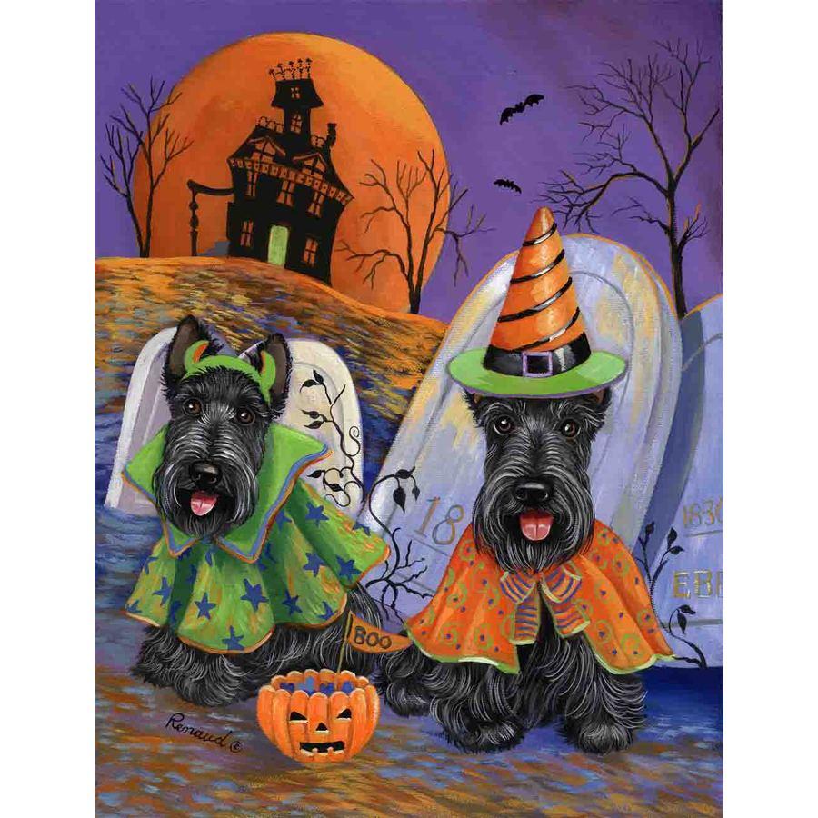 Precious Pet Paintings 3.33-ft x 2.33-ft Scottish Terrier Halloween Flag