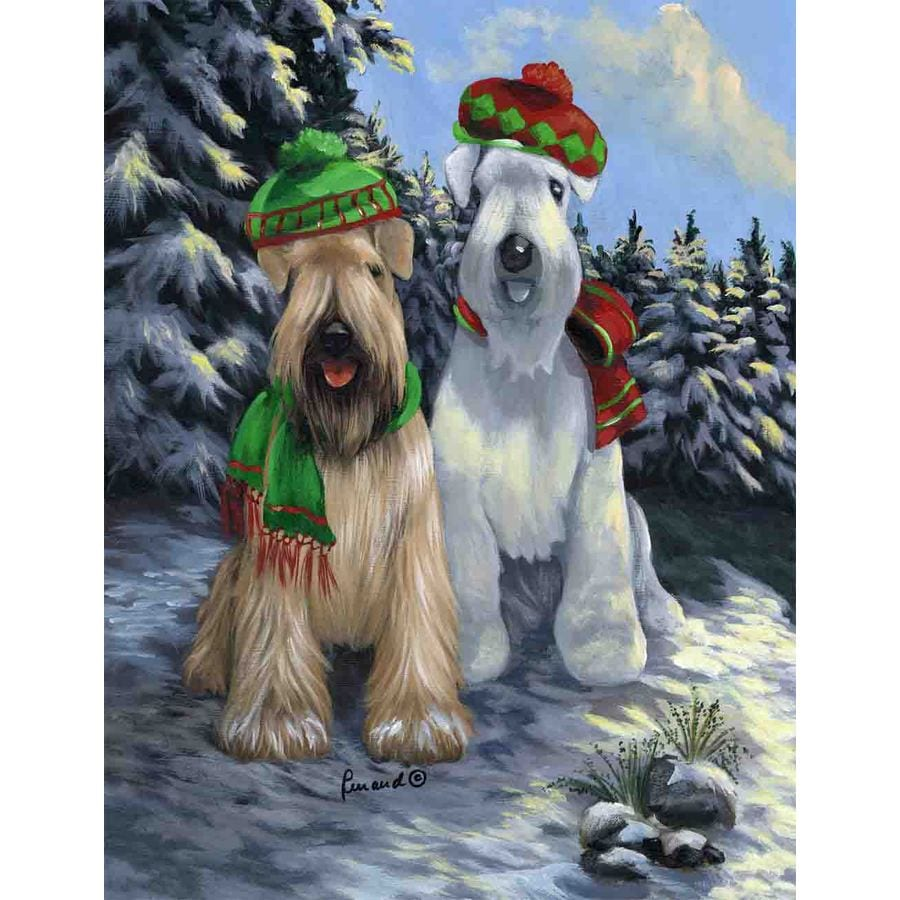 Precious Pet Paintings 3.33-ft x 2.33-ft Soft Coated Wheaten Terrier Winter Flag