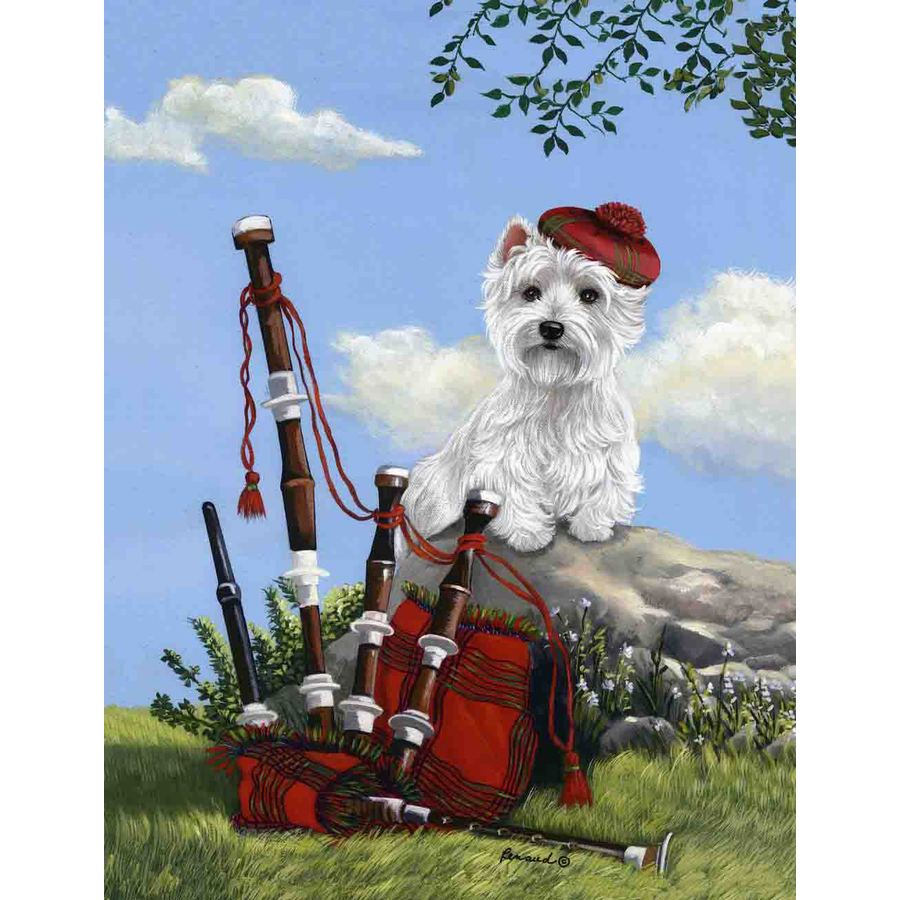Precious Pet Paintings 3.33-ft x 2.33-ft West Highland Terrier Spring Flag
