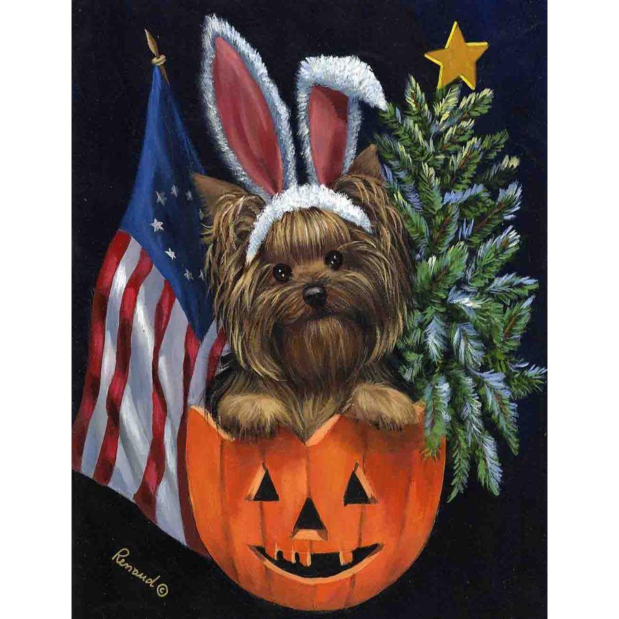 Precious Pet Paintings 3.33-ft x 2.33-ft Yorkshire Terrier Celebration Flag