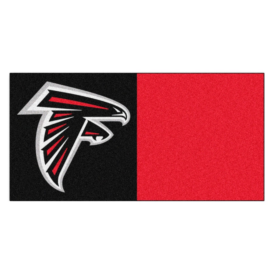 FANMATS 20-Pack 18-in x 18-in Falcons Black/Red Indoor Cut Pile Peel-and-Stick Carpet Tile
