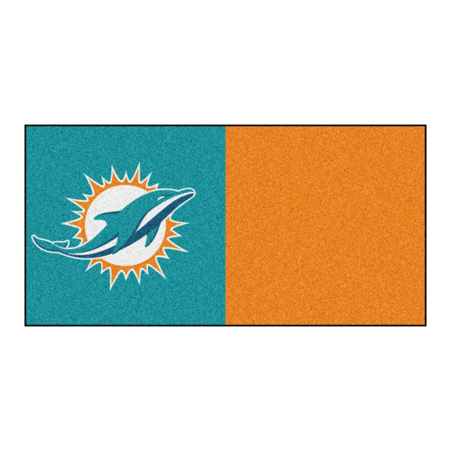 FANMATS 20-Pack 18-in x 18-in Dolphins Purple/Teal Indoor Cut Pile Peel-and-Stick Carpet Tile