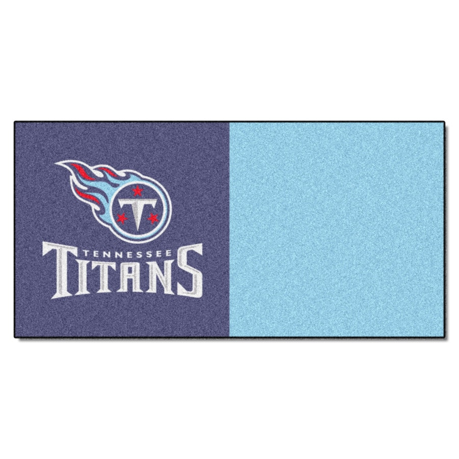 FANMATS 20-Pack 18-in x 18-in Titans Blue Indoor Cut Pile Peel-and-Stick Carpet Tile