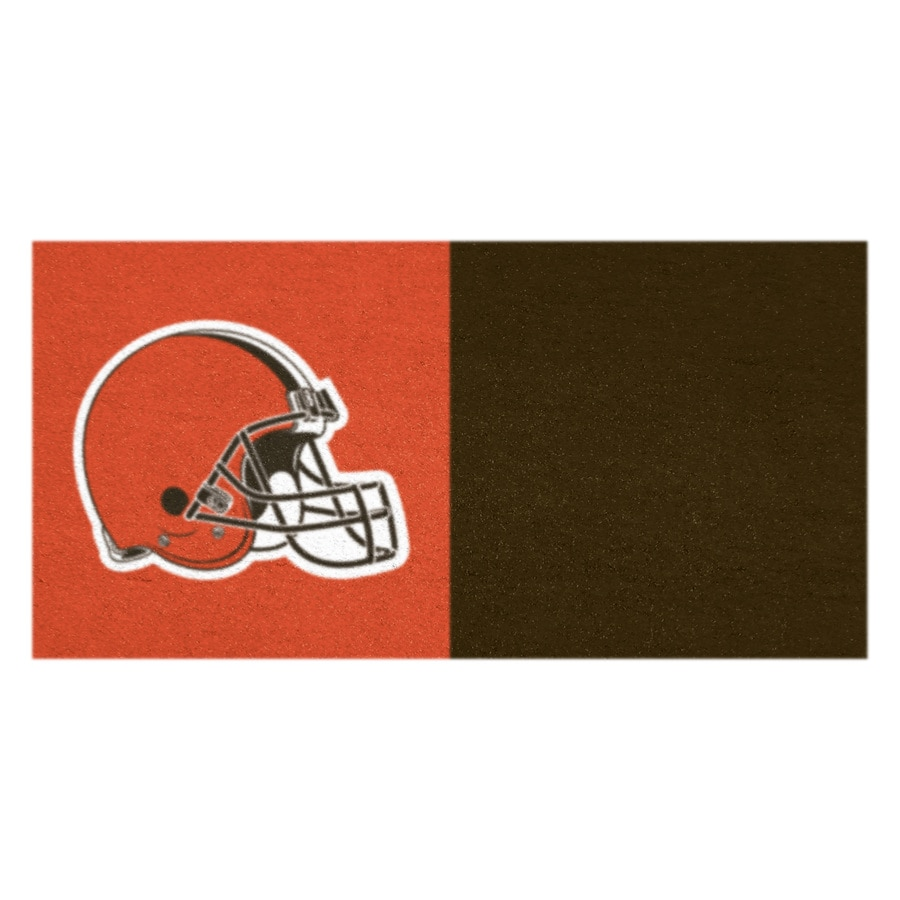 FANMATS 20-Pack 18-in x 18-in Cleveland Brown/Orange Indoor Cut Pile Peel-and-Stick Carpet Tile