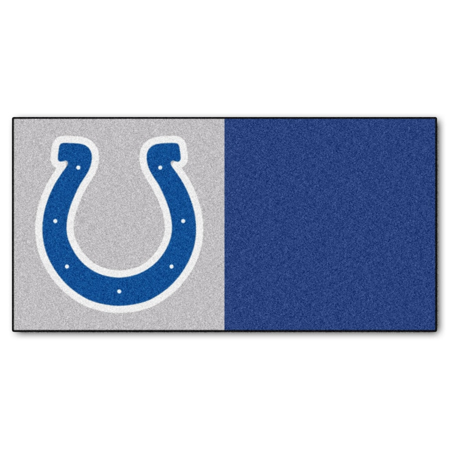 FANMATS 20-Pack 18-in x 18-in Colts Gray/Blue Indoor Cut Pile Peel-and-Stick Carpet Tile