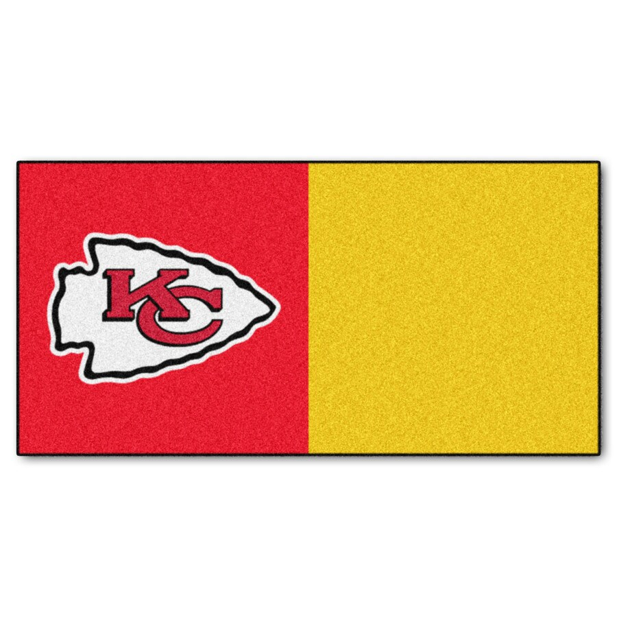 FANMATS 20-Pack 18-in x 18-in Chiefs Red/Yellow Indoor Cut Pile Peel-and-Stick Carpet Tile