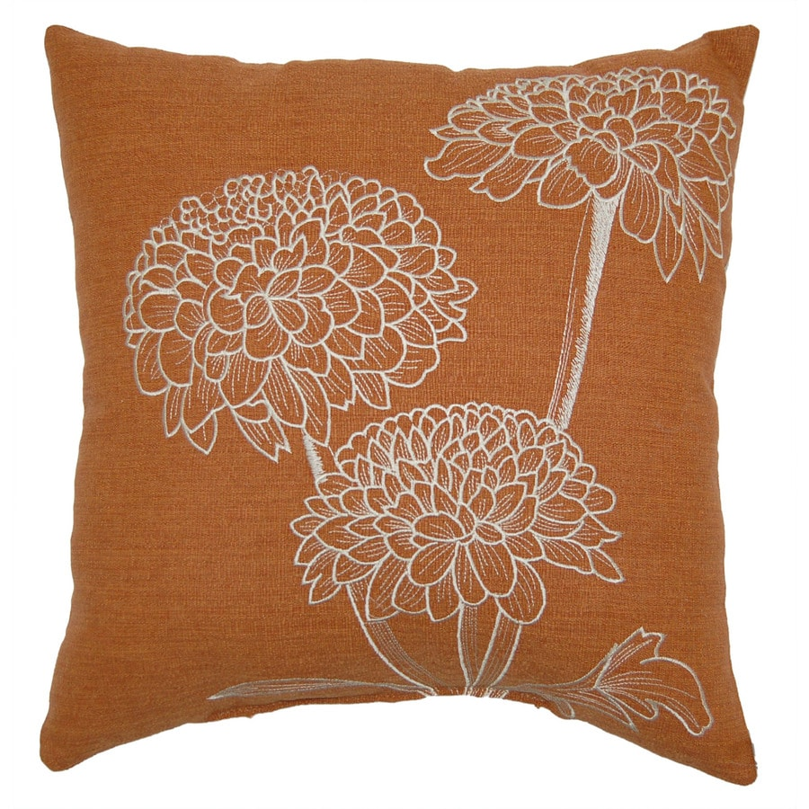 allen + roth Allen + Roth Orange Embroidery UV-Protected Outdoor Accent Pillow