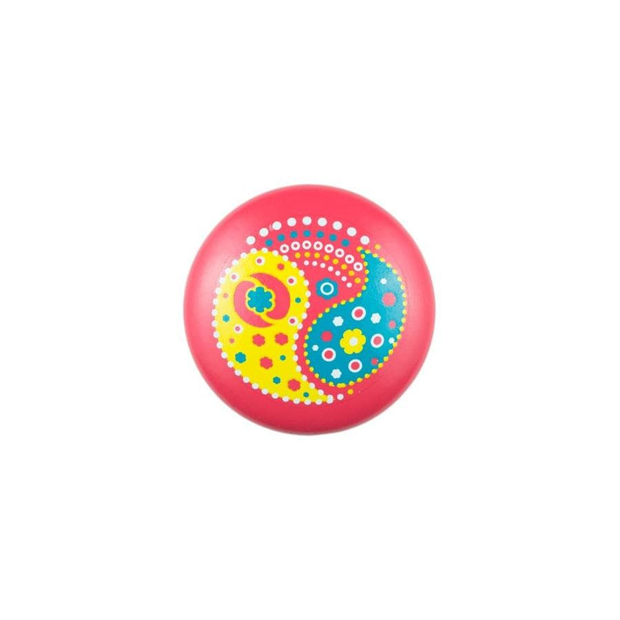 Sumner Street Pink with Yellow Paisley Round Cabinet Knob