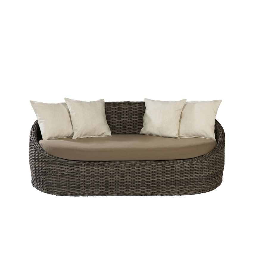 allen + roth Sylvan Park Brown Wicker Cushioned Patio Loveseat