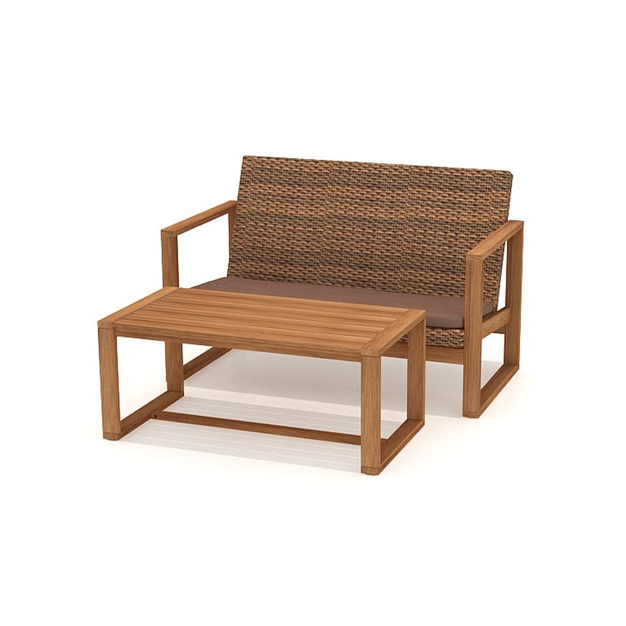 Garden Treasures 2-Piece Canal Point Brown Wood Patio Loveseat and Coffee Table Set