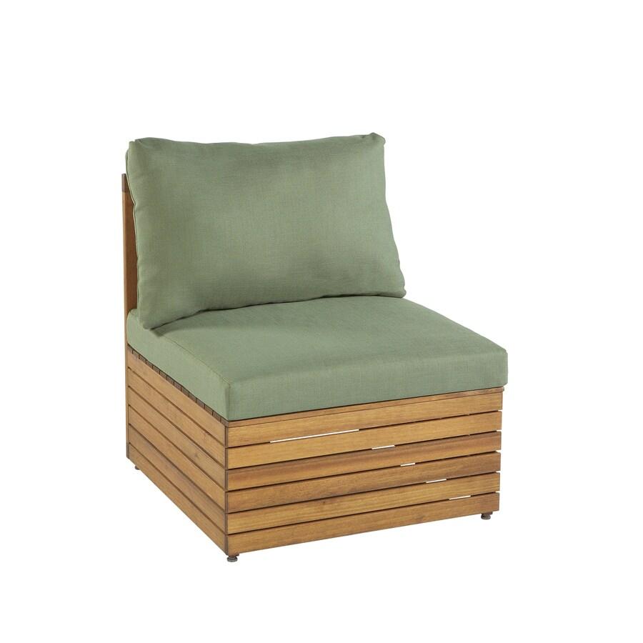 Garden Treasures Hunter Woods Balau Wood Cushioned Patio Chair