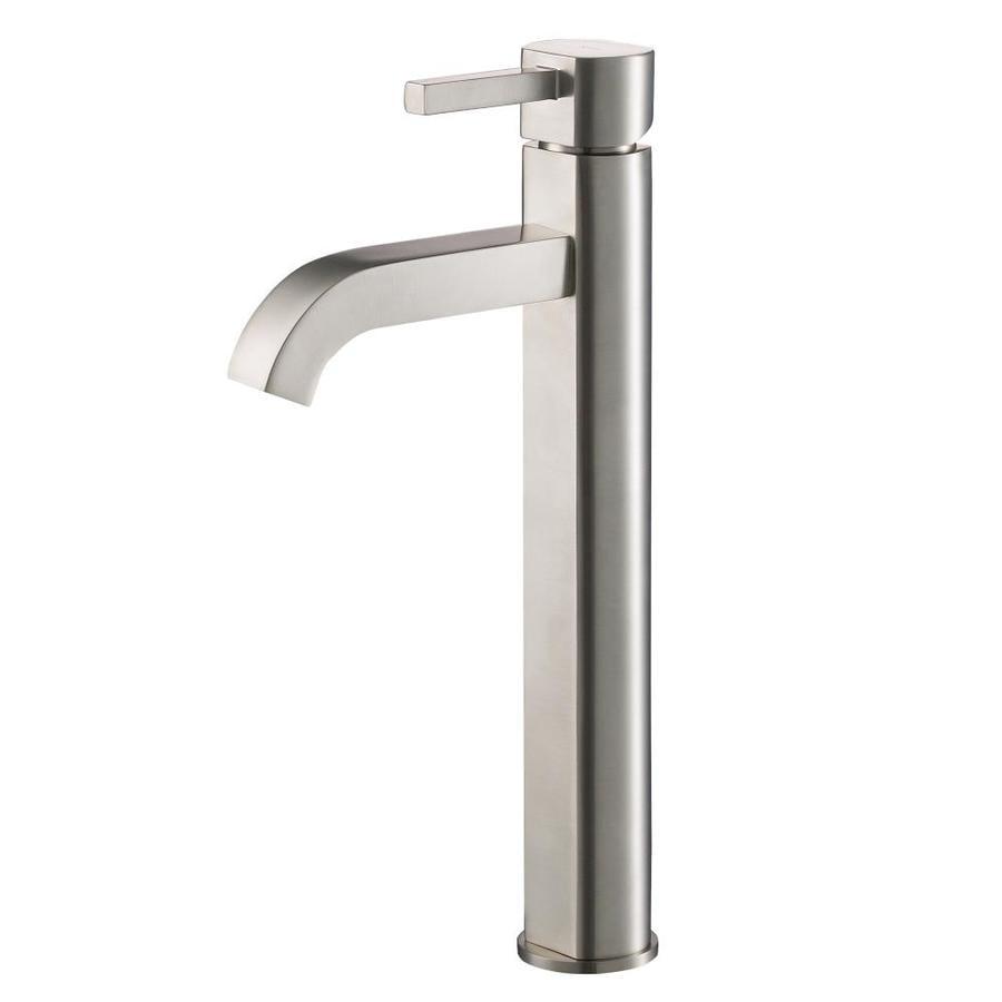 Kraus Vessel Mixer Satin Nickel 1-Handle Vessel WaterSense Bathroom Faucet (Drain Included)