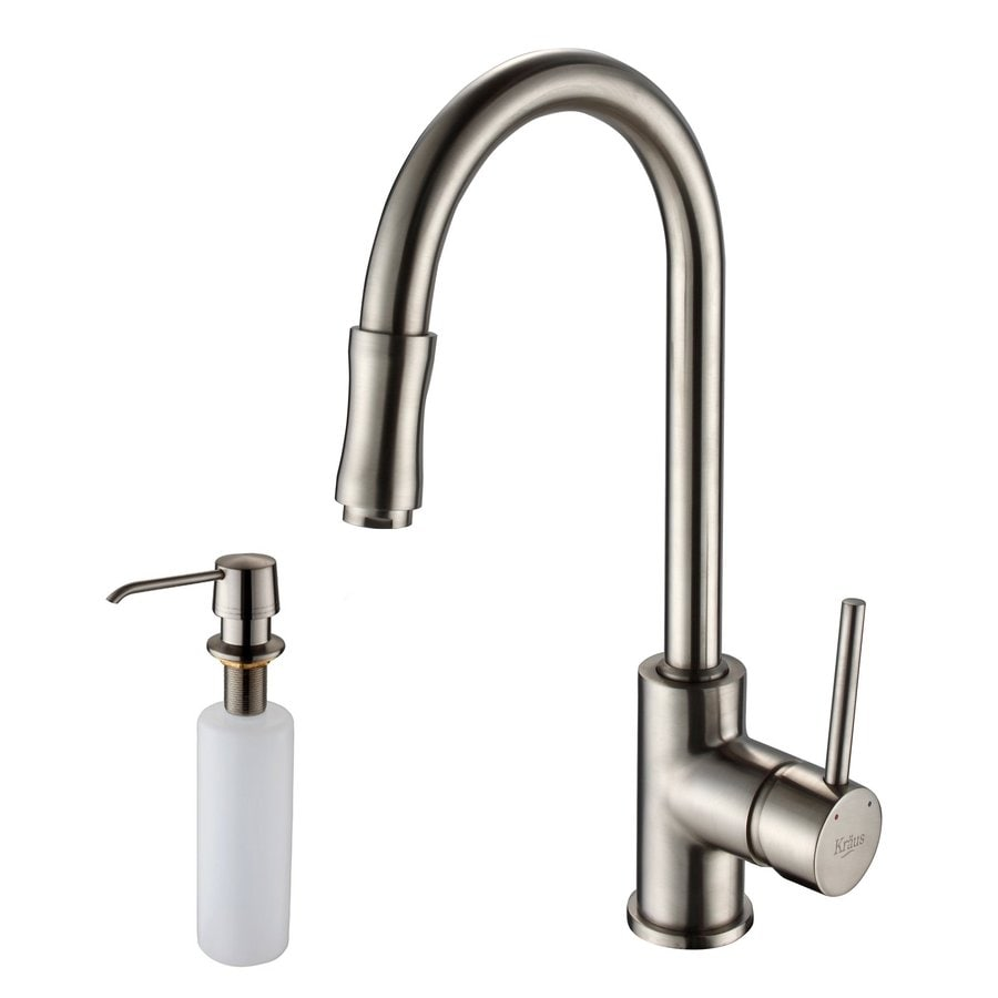 Kraus Premium Kitchen Faucet Satin Nickel 1-Handle Pull-Down Sink/Counter Mount Traditional Kitchen Faucet