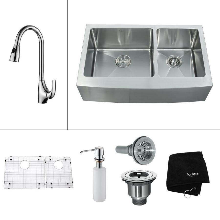 Kraus Kitchen Combo 20.75-in x 32.9-in Steel-Stainless Double-Basin Apron Front/Farmhouse Residential Kitchen Sink All-In-One Kit