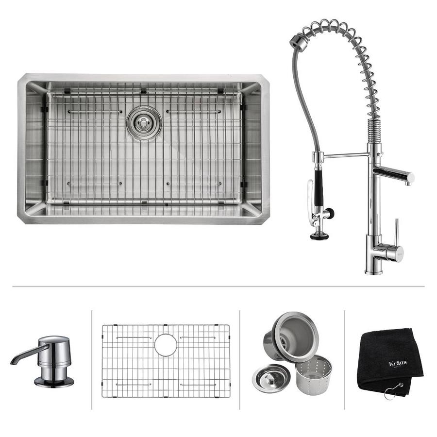 Kraus Kitchen Combo 18-in x 30-in Steel-Stainless Single-Basin Undermount Residential Kitchen Sink All-In-One Kit