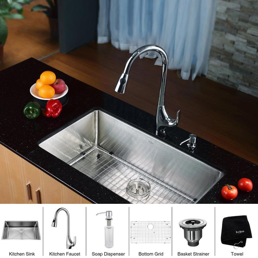 Kraus Kitchen Combo 19-in x 32-in Steel-Stainless Single-Basin Undermount Residential Kitchen Sink All-In-One Kit