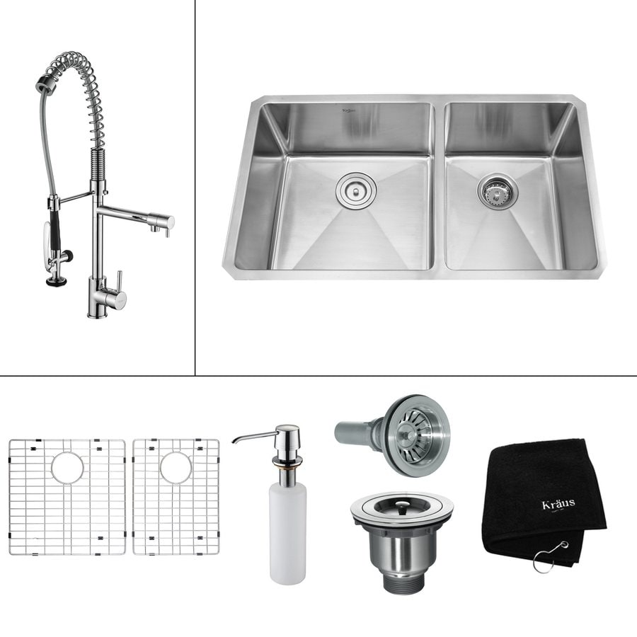 Kraus Kitchen Combo 19-in x 32.75-in Steel-Stainless Double-Basin Undermount Residential Kitchen Sink All-In-One Kit