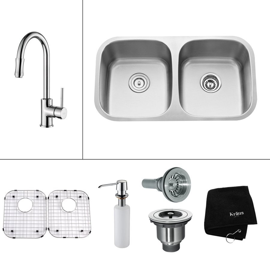 Kraus Kitchen Combo 18-in x 32.25-in Steel-Stainless Double-Basin Undermount Residential Kitchen Sink All-In-One Kit