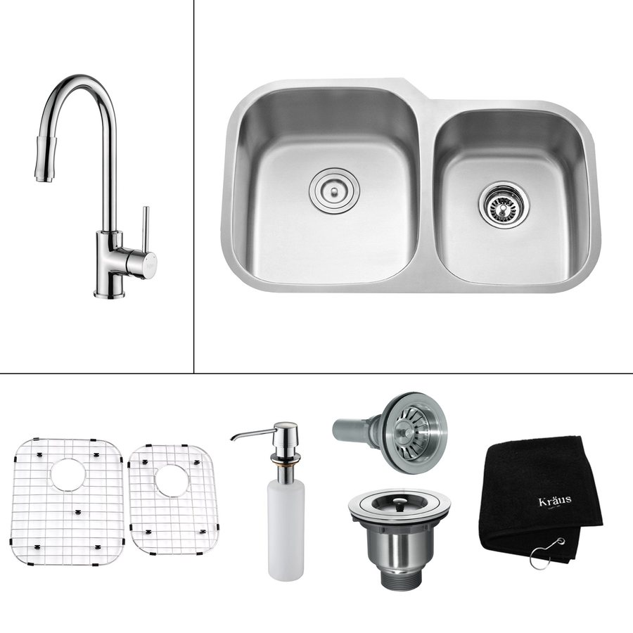 Kraus Kitchen Combo 20.63-in x 32-in Steel-Stainless Double-Basin Undermount Residential Kitchen Sink All-In-One Kit