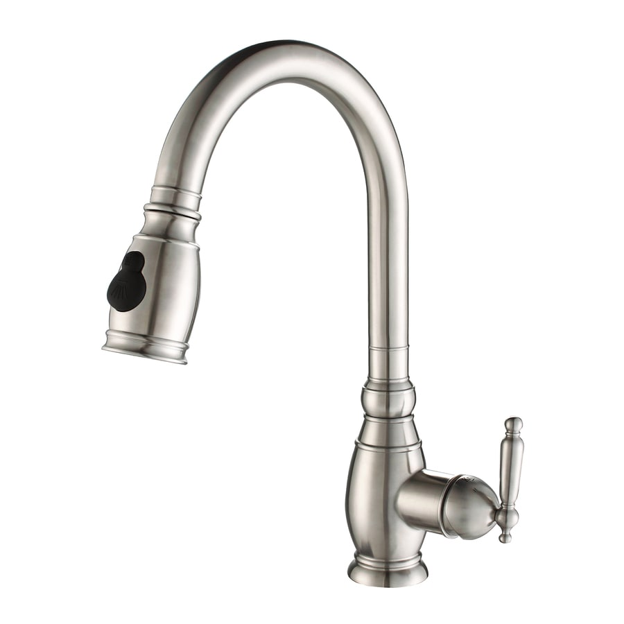Kraus Stainless Steel Kitchen Faucet Stainless Steel 1-Handle Pull ...