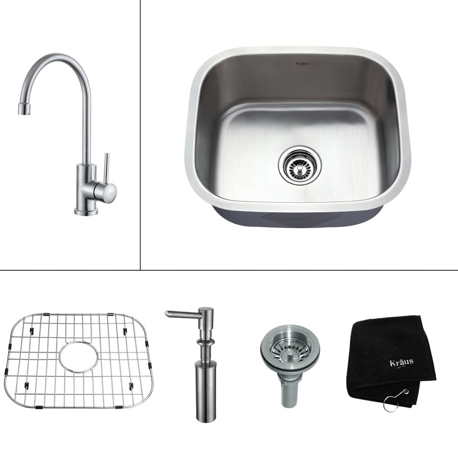 Kraus Kitchen Combo 17.75-in x 20.75-in Steel-Stainless Single-Basin Undermount Residential Kitchen Sink All-In-One Kit