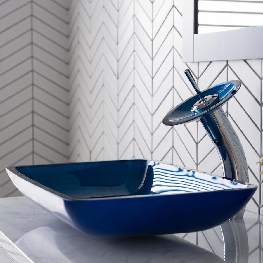 Kraus Galaxy Blue Multicolor Tempered Glass Vessel Rectangular Bathroom Sink