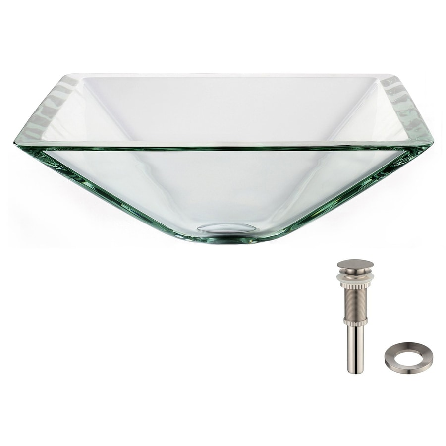 Shop Kraus Clear Aquamarine Tempered Glass Drop In Square Bathroom Sink Drain Included At