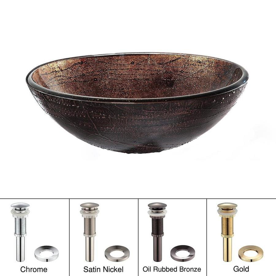 Kraus Copper Illusion Tempered Glass Vessel Round Bathroom Sink (Drain Included)