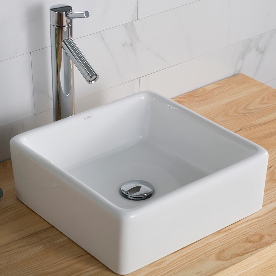 Kraus White Vessel Square Bathroom Sink