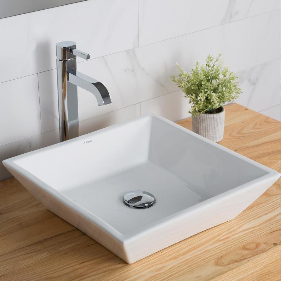 Kraus White Vessel Square Bathroom Sink