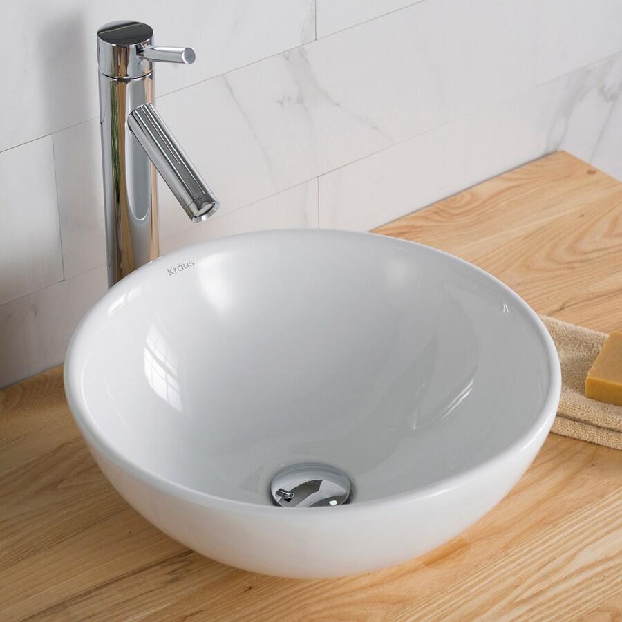 Kraus White Vessel Round Bathroom Sink