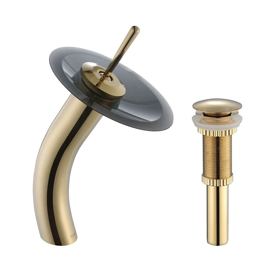 Shop Kraus Vessel Mixer Gold 1 Handle Single Hole Bathroom Faucet Drain Included At