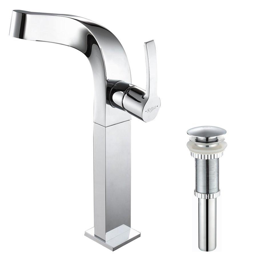 Kraus Typhon Chrome 1-Handle Single Hole WaterSense Bathroom Faucet (Drain Included)
