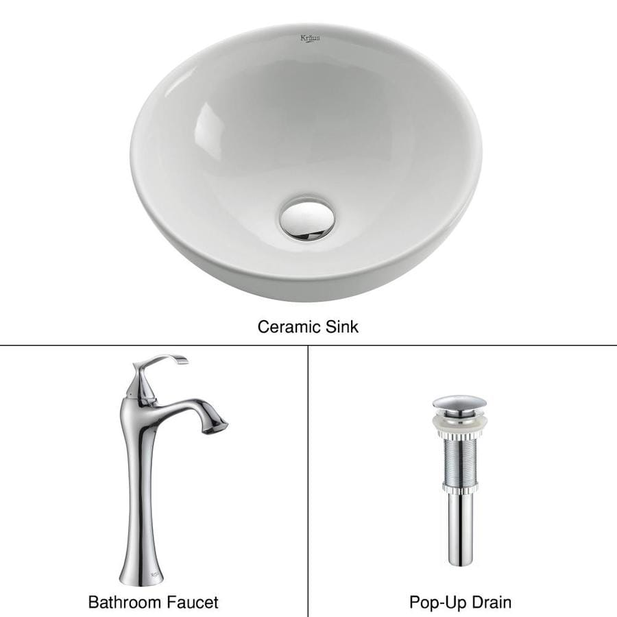 Kraus Ventus Chrome Ceramic Vessel Round Bathroom Sink with Faucet (Drain Included)