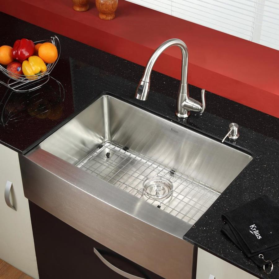 Kraus Kitchen Combo 20-in x 29.75-in Steel-Stainless Single-Basin Apron Front/Farmhouse Residential Kitchen Sink All-In-One Kit