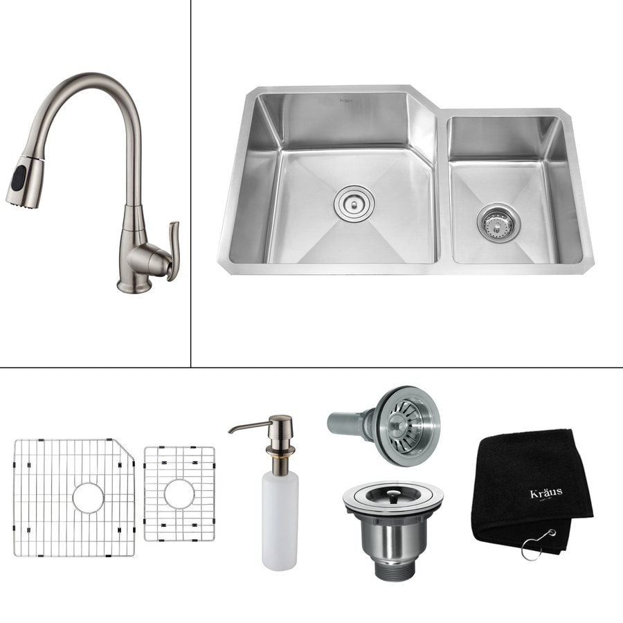 Kraus Kitchen Combo 20-in x 32-in Steel-Stainless Double-Basin Undermount Residential Kitchen Sink All-In-One Kit