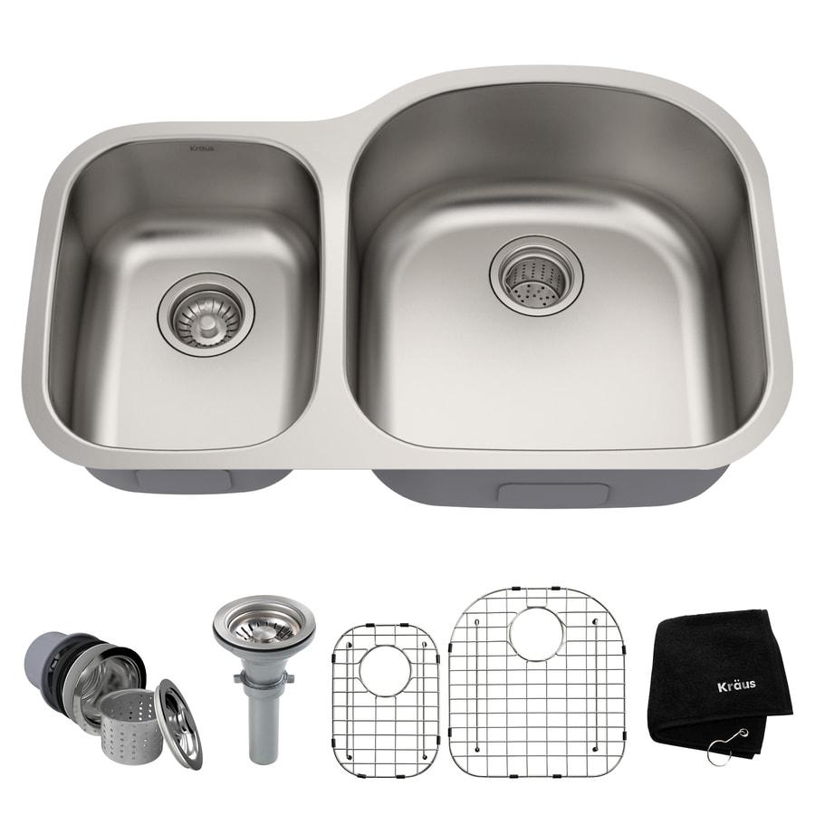 Kraus Kitchen Sink 20.5-in x 32.38-in Stainless Steel Double-Basin Undermount Residential Kitchen Sink All-In-One Kit
