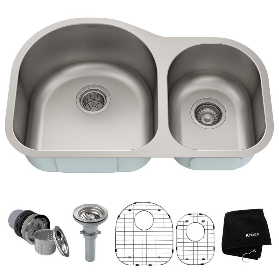 Kraus Kitchen Sink 20-in x 31.5-in Stainless Steel Double-Basin Undermount Residential Kitchen Sink All-In-One Kit