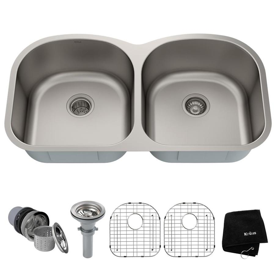 Kraus Kitchen Sink 20.5-in x 38.6-in Stainless Steel Double-Basin Undermount Residential Kitchen Sink All-In-One Kit