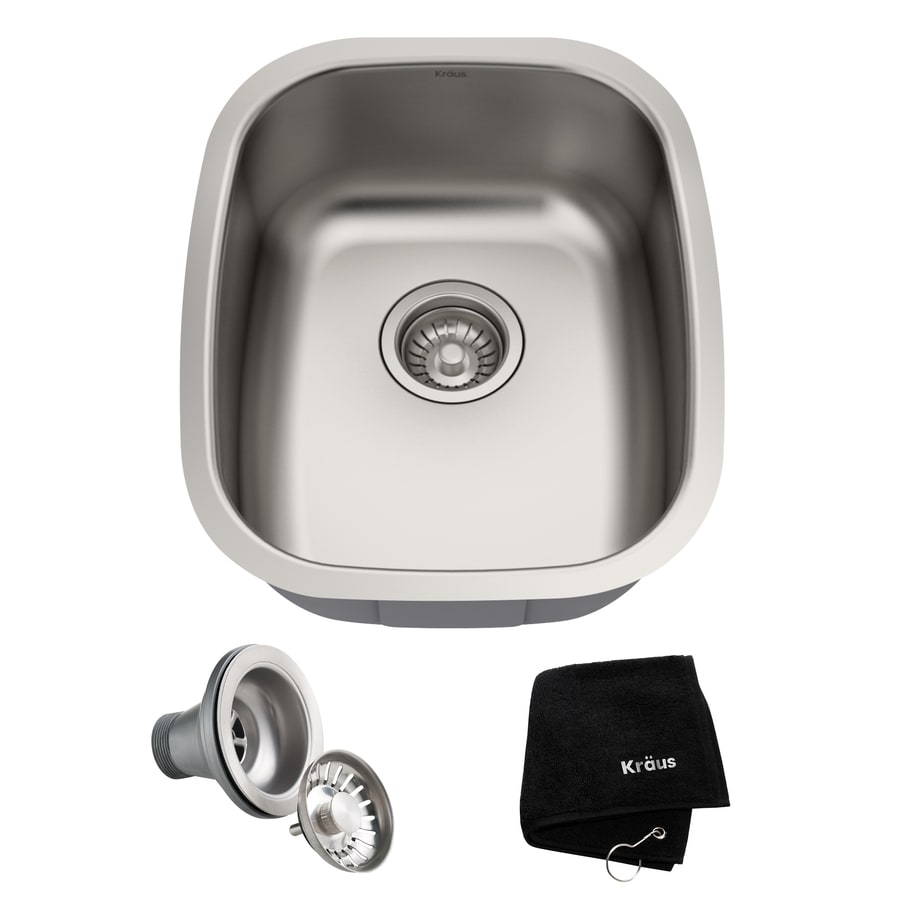 Kraus Kitchen Sink 18.5-in x 15-in Stainless Steel Single-Basin Undermount Residential Kitchen Sink All-In-One Kit